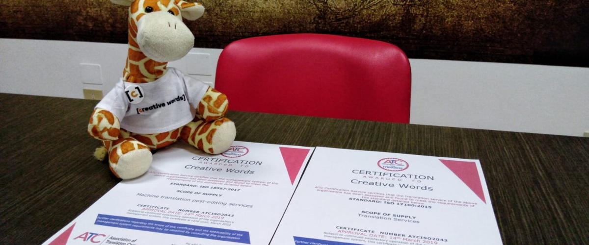 Certificazioni ISO di Creative Words - Genova
